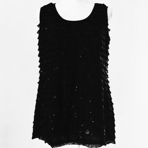 JKLA women's sequined ruffle layer sleeveless tank